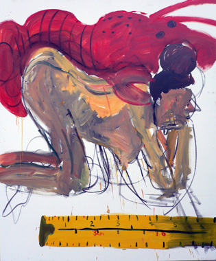 Elizabeth Cope: Dee with lobster on her back and tape measure, 2006, oil on canvas, 182.9 x 121.9 cm