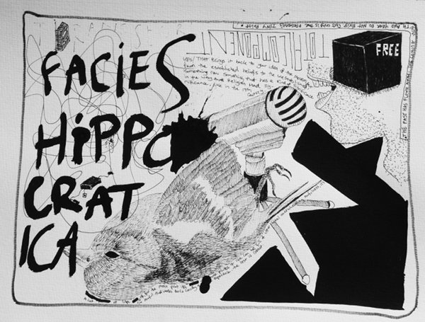 Garrett Phelan: Facies Hippocratica, ink and pen on paper, 42 x 295 cm; courtesy the artist