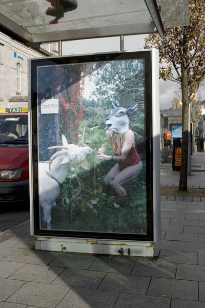 Fiona Woods: Common?, 2010, digital photographs, public work made for situation within the existing visual economy of the city, bike and bus Shelters, Eyre Square and Spanish Arch; courtesy the artist / Tulca