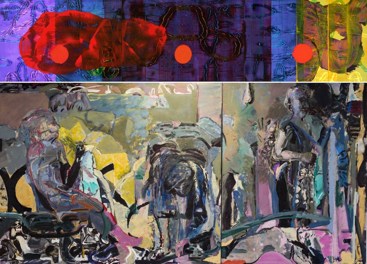 John Cronin, Standard Deviation, 2013, Oil on aluminum, 122 x 549 cm, Image courtesy of the artist and Green on Red Gallery, Dublin. David Crone RHA, Figures at Night (Diptych), 1988, Oil on canvas, 152 x 326cm, Image courtesy of the artist and Ulster University.