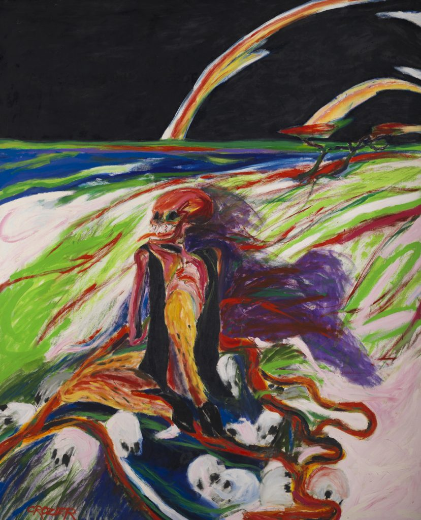 William Crozier, Portrait for Jose Guadalipue Posada (Pyms), 1974 Oil on canvas, 213 x 172.5cm, William Crozier Estate.