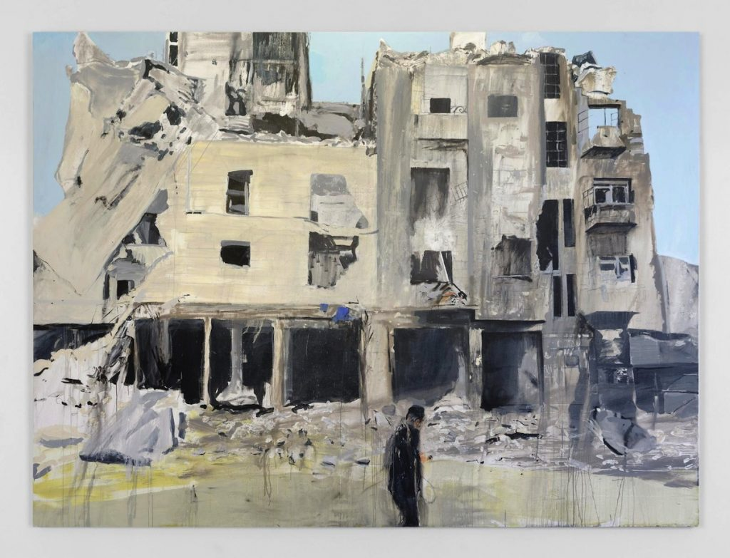 Brian Maguire, Aleppo 5, 2017, acrylic on linen, 290 x 387 cm. Image courtesy the artist and Kerlin Gallery.
