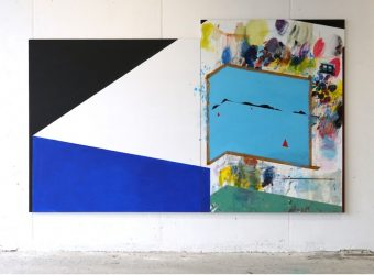 Ramon Kassam, Study for a Studio by the Sea, 2018, Acrylic on linen, 330x200cm. Photo courtesy of the artist.