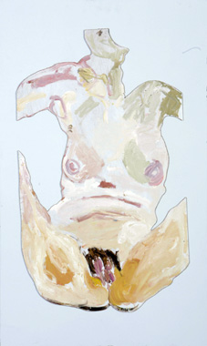 Elizabeth Cope: Nude cut-out, 2007, oil on board, cut and stuck onto board, 91.4 x 61 cm
