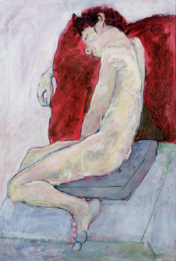 Elizabeth Cope: Sleeping nude: Leo lying on red cushion, 1975, oil on canvas, 121.9 x 91.4 cm