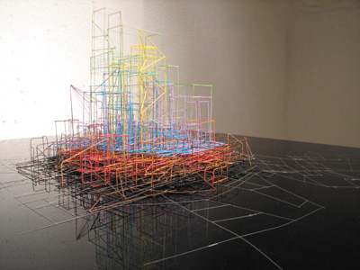 Maggie Madden, Untitled Drawing, 2008. multi-core telephone wire, 69 x 518 x 69 cm; photo David Monaghan