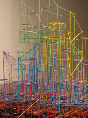 Maggie Madden, Untitled Drawing (detail), 2008. multi-core telephone wire, 69 x 518 x 69 cm; photo David Monaghan