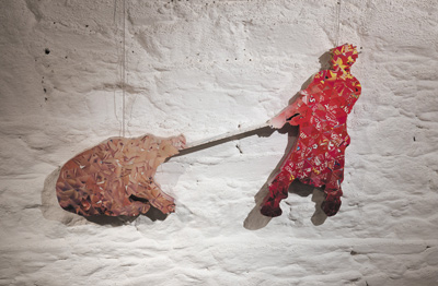 Cristophe Neumann, Killing the hog (after Millet), 2005, card on panel, 85 x 50 x 5 cm; photo David Monaghan