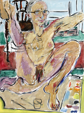 Elizabeth Cope: Nude self portrait with glasses, 2006, oil on canvas,  152.4 x 121.9 cm