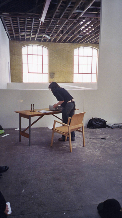 Siobhán Tattan: The Absent raconteur, 2004, performance shot, Victoria Miro Gallery, London; courtesy the artist