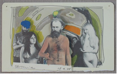 Dougal McKenzie: Against architecture (after Hundertwasser), 13 x 21cm, drawing, oil and collage, 2008; courtesy the artist and the Third Space Gallery