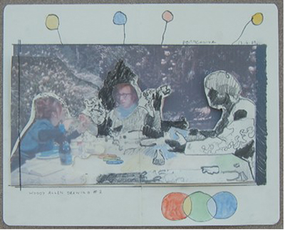 Dougal McKenzie:Woody Allen drawing (table talk), 21 x 26 cm, drawing, watercolour and collage, 2009; courtesy the artist and the Third Space Gallery