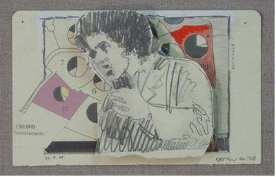 Dougal McKenzie: Communard (Warren Beatty), 13 x 21 cm, drawing, oil and collage, 2008; courtesy the artist and the Third Space Gallery (DmcK: one of the first 'collage drawings\