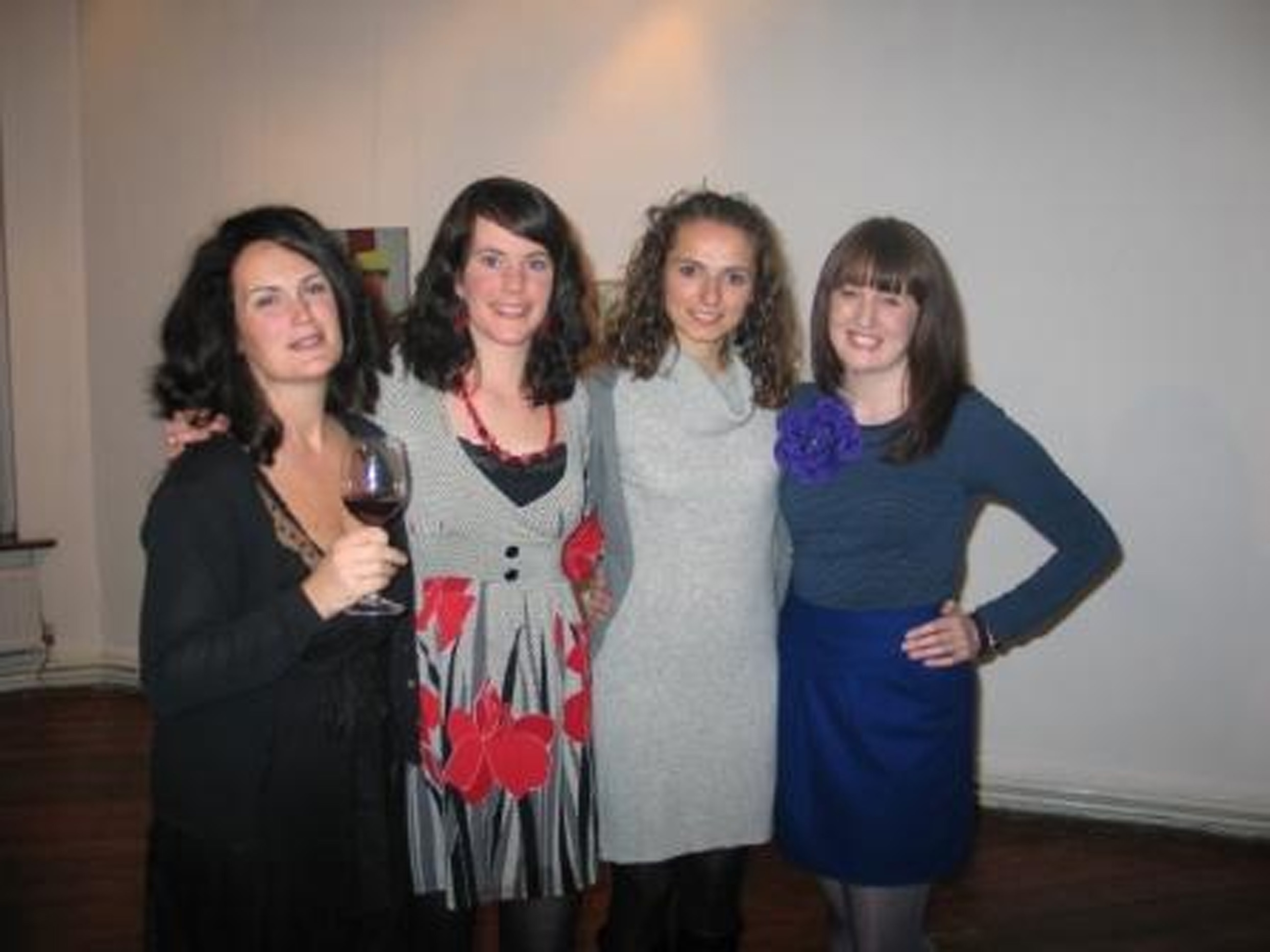from left to right: gallery manager Elaine Grainger, assistants Róisín Russell and Lourdes Viso, artist Anne Hendrick; courtesy Talbot Gallery