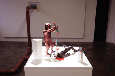 Christopher J Campbell: Rat and bear get pataphysical, 2009, mixed media; courtesy Golden Thread Gallery